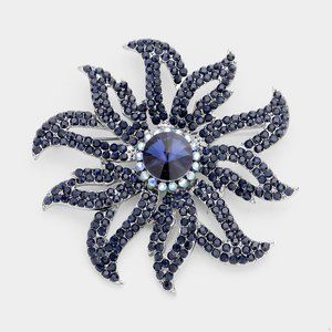 Flower Montana Blue Crystal Pave Pin Brooch